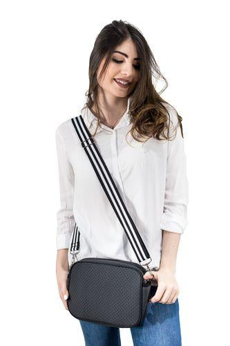 Punch Neoprene Shoulder Bag with Stripped Strap - Punch Neoprene Bag - Handbags and Clutches - Paloma + Co Adelaide Boutique