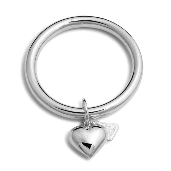 Von Treskow Sterling silver 8mm golf bangle with large puffy heart