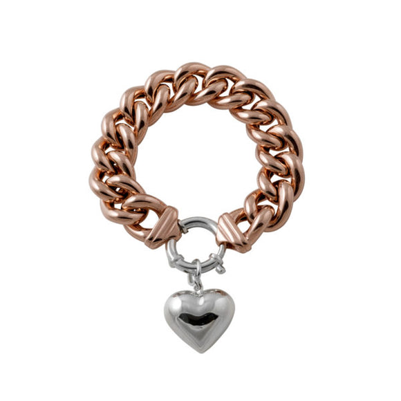 Von Treskow Rose Gold Plated Big Mama Bracelet with sterling silver bolt & silver puffy heart