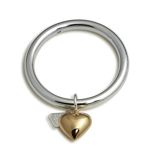 Von Treskow Sterling Silver 8mm Wide Golf Bangle with Gold Puffy Heart