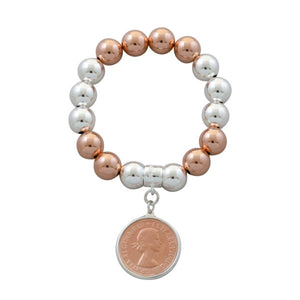 A Von Treskow Silver and Rose Gold Ball Bracelet with Half Penny