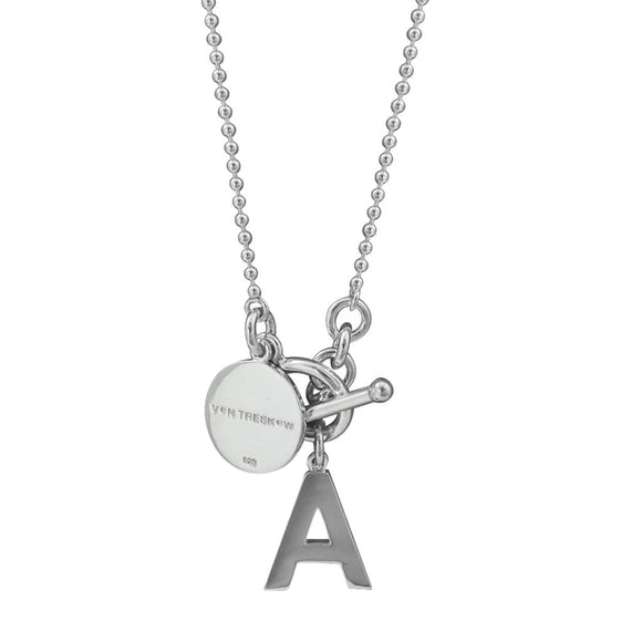 Von Treskow Initial Silver Ball Chain Necklace 80cm - Von Treskow - Jewellery - Paloma + Co Adelaide Boutique