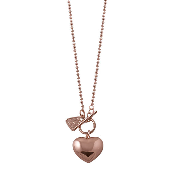 Von Treskow Rose Gold 80cm Ball Chain Puffed Heart Necklace - Von Treskow - Jewellery - Paloma + Co Adelaide Boutique