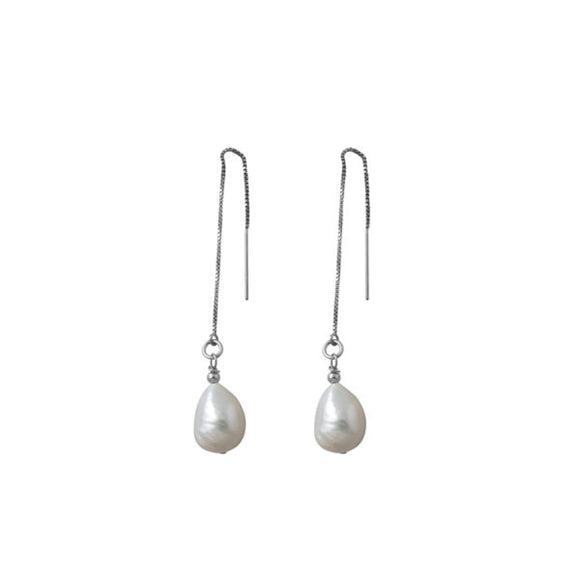 A Von Treskow Thread Baroque Pearl Chain Earrings