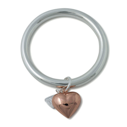 Von Treskow Sterling Silver 8mm Wide Golf Bangle with Puffy Heart
