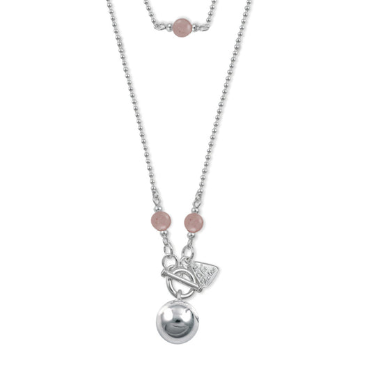 Von Treskow Sterling Silver CHIME BALL NECKLACE WITH ROSE QUARTZ