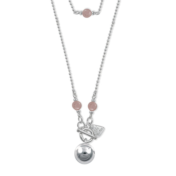 Von Treskow Sterling Silver CHIME BALL NECKLACE WITH ROSE QUARTZ - Von Treskow - Jewellery - Paloma + Co Adelaide Boutique