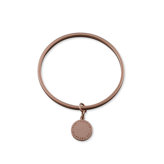 Von Treskow ROSE GOLD FLAT EDGED BANGLE WITH VT PLATE - Von Treskow - Jewellery - Paloma + Co Adelaide Boutique