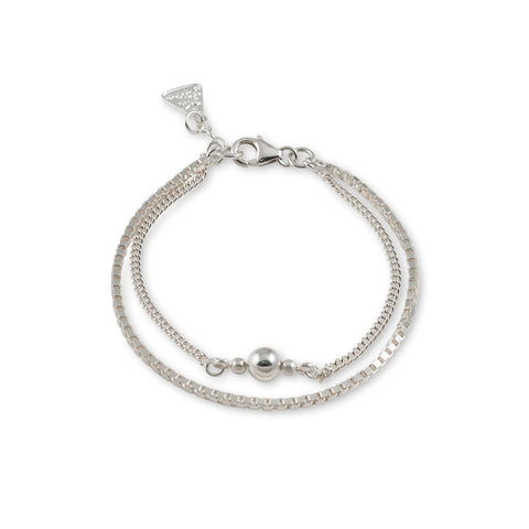 Von Treskow BOX & CURB CHAIN BRACELET WITH SILVER BALL