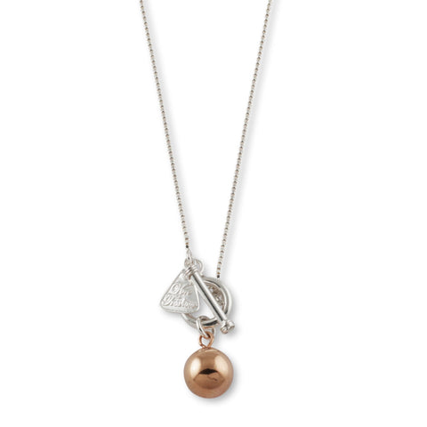 Von Treskow BOX CHAIN NECKLACE WITH ROSE GOLD BALL