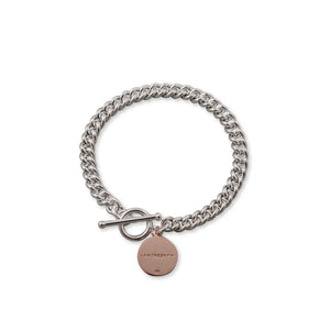 Von Treskow SILVER HEAVY CURB BRACELET WITH ROSE GOLD VT PLATE - Von Treskow - Jewellery - Paloma + Co Adelaide Boutique