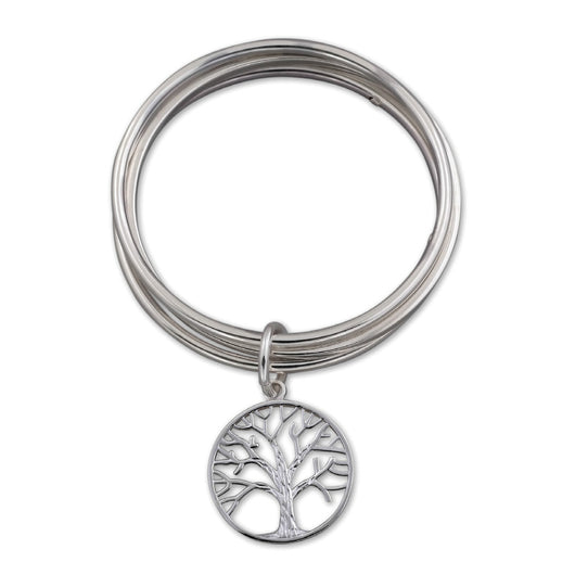 Von Treskow Sterling Silver Triple Bangle with Tree of Life Charm - Von Treskow - Jewellery - Paloma + Co Adelaide Boutique