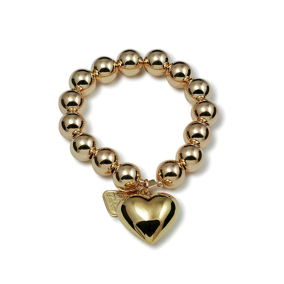 Von Treskow YELLOW GOLD STRETCHY BRACELET WITH PUFFY HEART - Von Treskow - Jewellery - Paloma + Co Adelaide Boutique