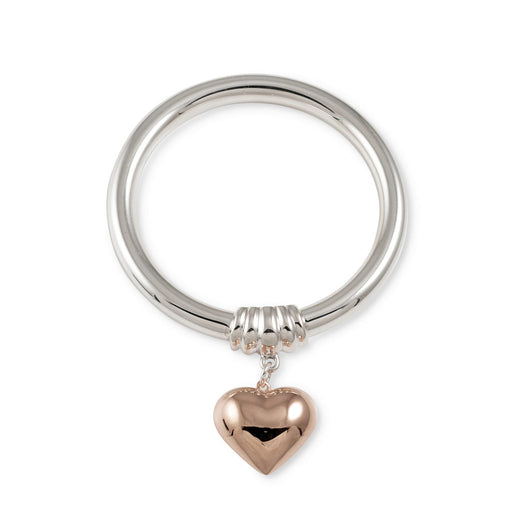 Von Treskow Golf Bangle with Rose Gold Puffed Heart