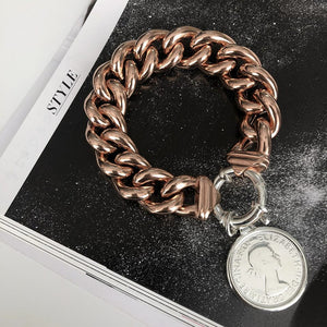 Von Treskow Rose Gold Plated Big Mama Bracelet with sterling silver bolt & silver florin coin - Von Treskow - Jewellery - Paloma + Co Adelaide Boutique