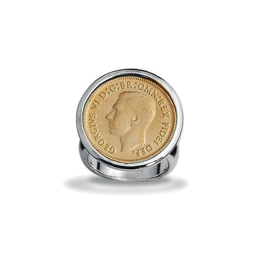 Von Treskow YELLOW GOLD SIXPENCE COIN RING