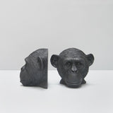 B White Moose Monkey Bookends