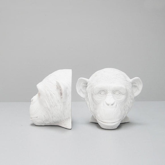 G  White Moose Monkey Bookends White
