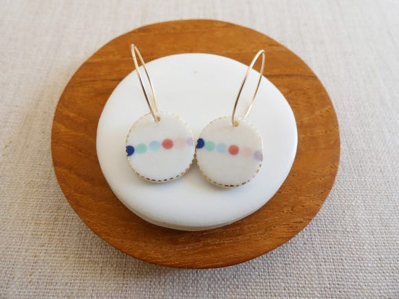 and O Design Hand Made Porcelain Bead Oval Earrings