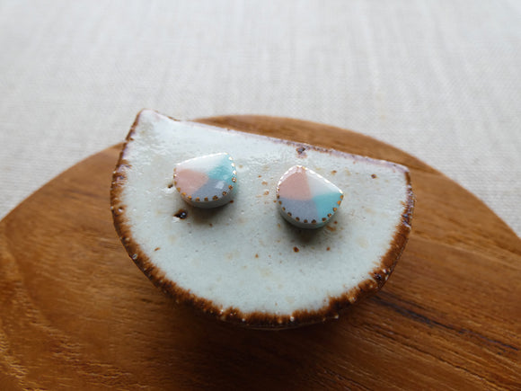 and O Design Hand Made Porcelain Envelope Stud Earrings