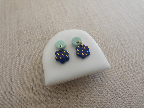and O Design Hand Made Porcelain Moon and Star Earrings