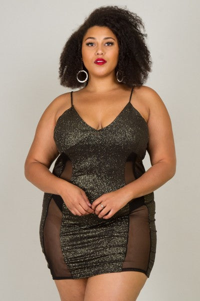Black lycra with mesh dress....plus sizes
