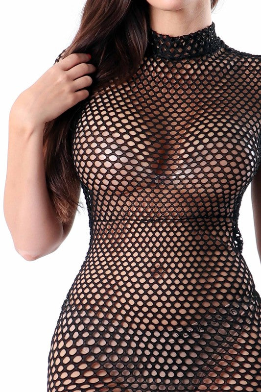 Honeycomb net short sleeve dress