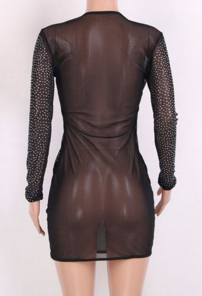 Long sleeve mesh dress with rhinestones