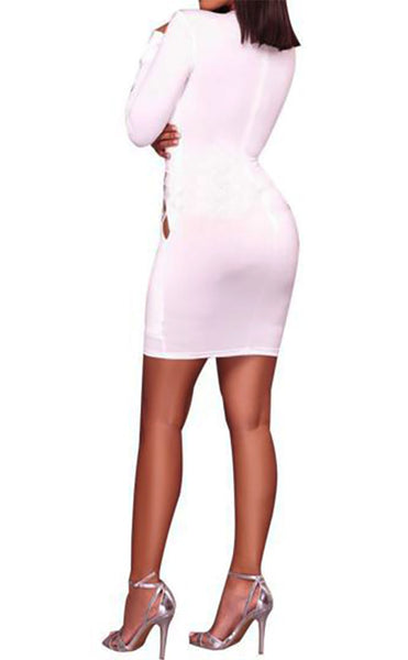 Long sleeve mini dress with rhinestones ...  2 colors