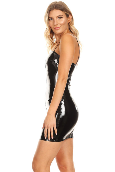 Stretch pvc dress with zipper