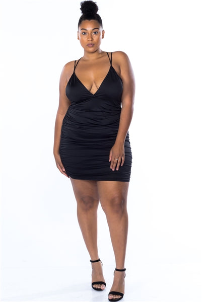 Ruched Clubwear Dress....Black Queen Size