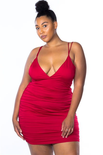 Ruched Clubwear Dress...Red Queen Size