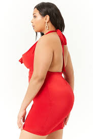 Red cowl halter dress