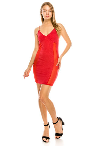 Red lycra and mesh dress....regular sizes