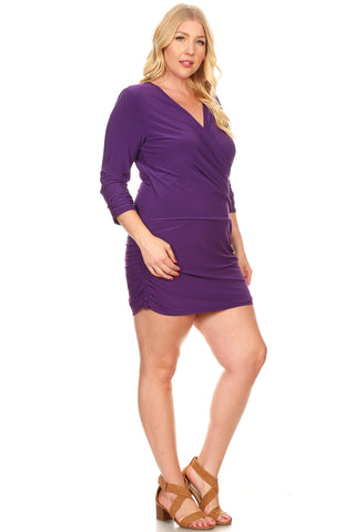 Purple wrap ruched club dress...plus sizes