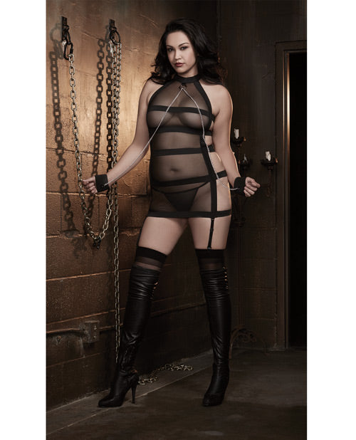 Stretch mesh strappy back spanking dress with restraints set...Queen size