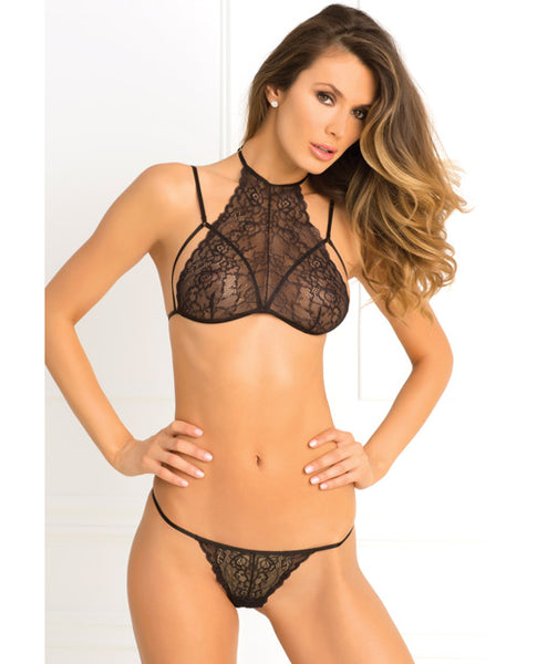 Sheer lace and strappy bra set