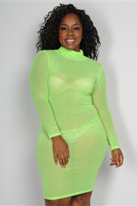 Long sleeve sheer mesh dress (2 colors available)..queen size
