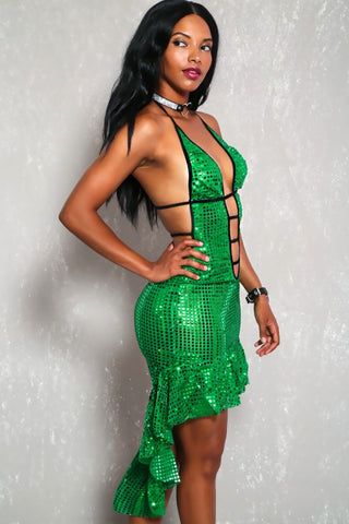Green sequin hi lo salsa dress set