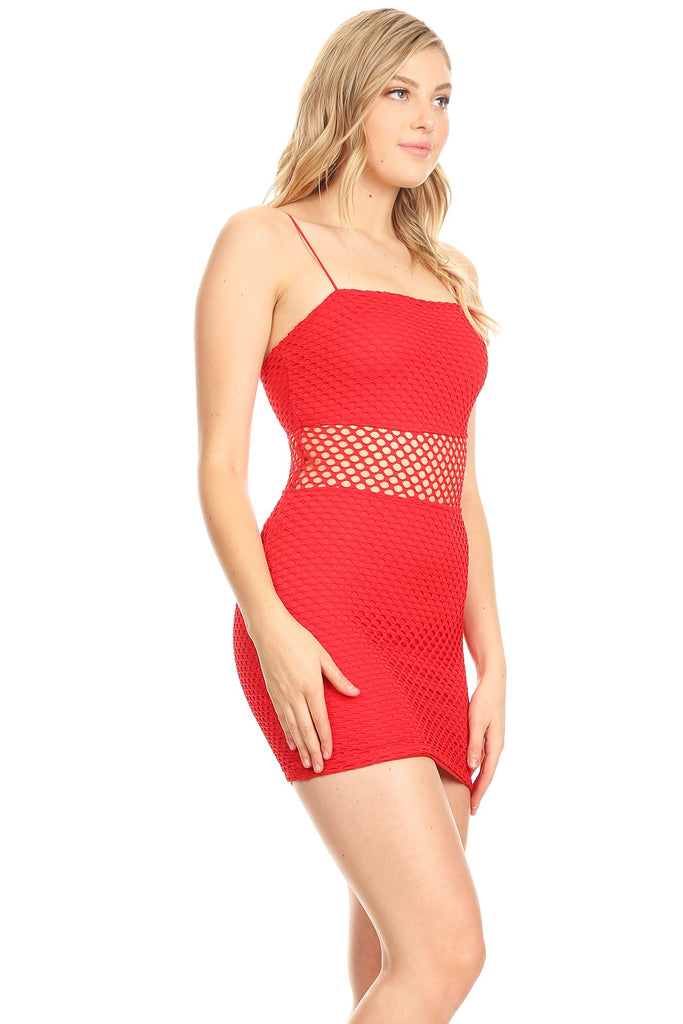 Red net panel dress