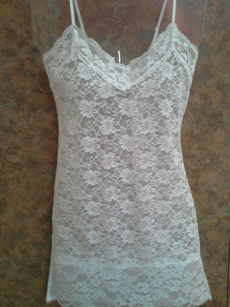 Bridal Lace Chemise with Rhinestones
