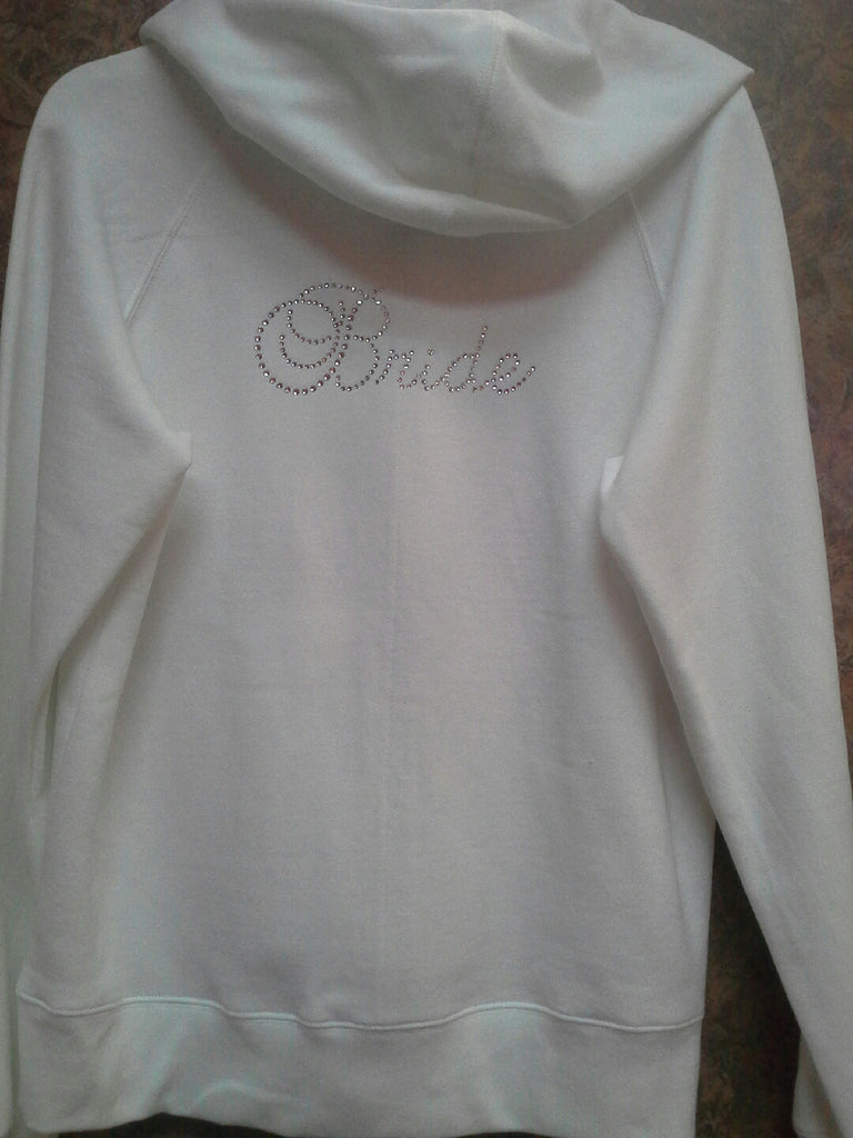 "White with Rhinestone ""Bride"" Hoodie"