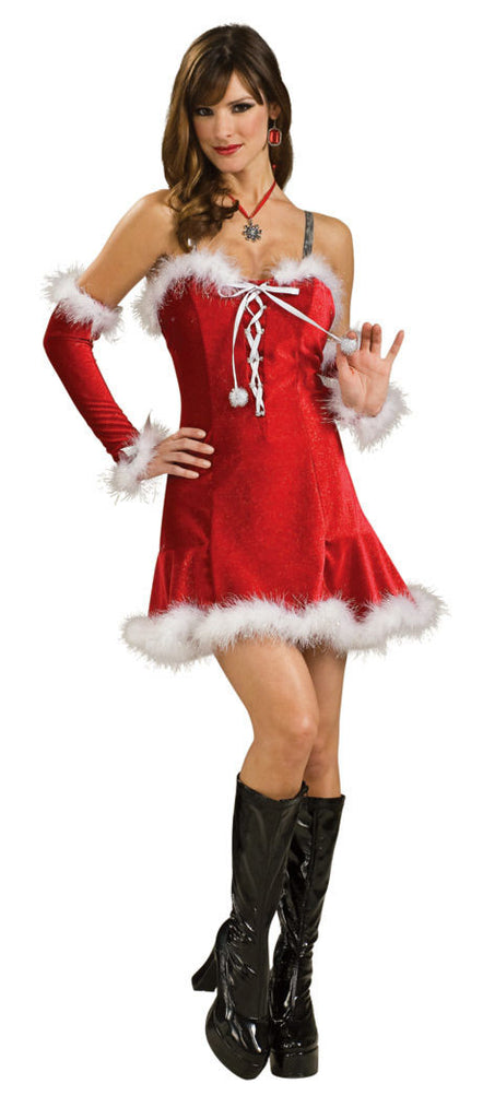 Sexy santa dress with gloves