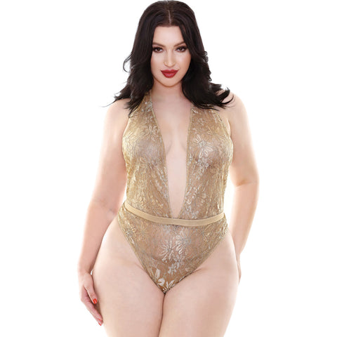 Gold sparkle lace bodysuit romper