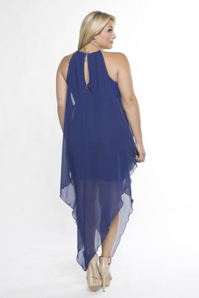 Asymmentrical gold neck chain dress...two colors...plus sizes