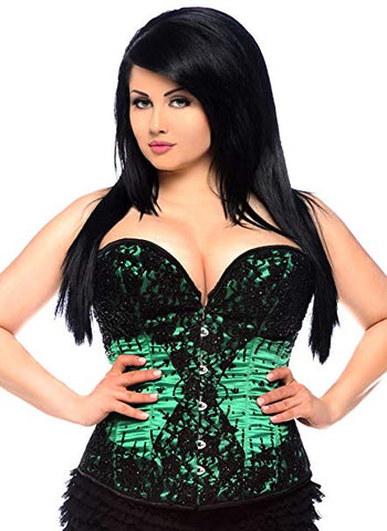 Steel boned beaded corset..green