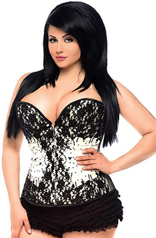 Steel boned beaded corset...ivory/black