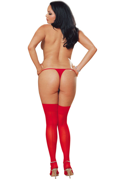 Queen size red thigh high seamed stockings
