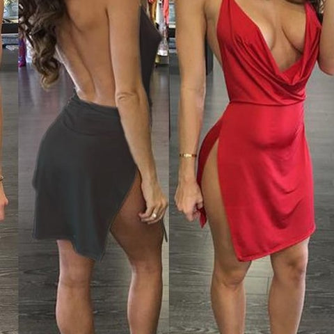 cowl halter high slit dress...coming soon in regular and queen sizes