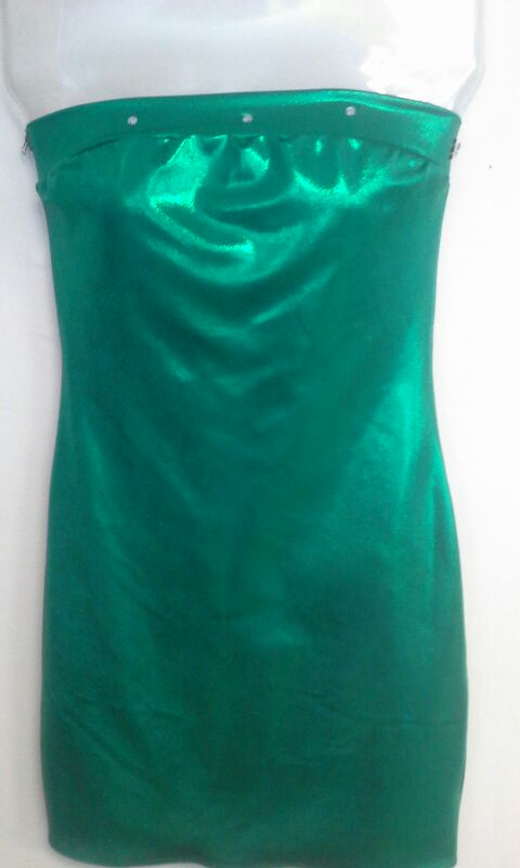 Green shiny lame club dress with stones